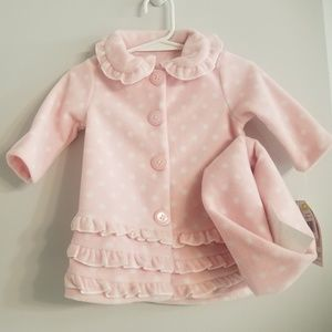 Bonnie Baby Pink & White Polka Dot Coat with Cap